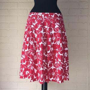 Talbots pleated hibiscus petite 10 red white skirt